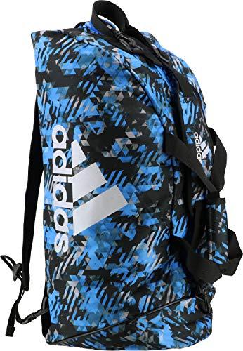Adidas - Bolsa de deporte de combate 2 en 1, 59 litros, color azul y plateado