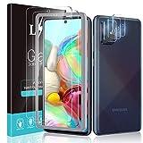 LϟK 5 Pack Protector de Pantalla Compatible con Samsung Galaxy A71 4G con 2 Pack Cristal Templado y 3 Pack Protector de Lente de Cámara - Sin Burbujas Doble Protección Kit Fácil instalación
