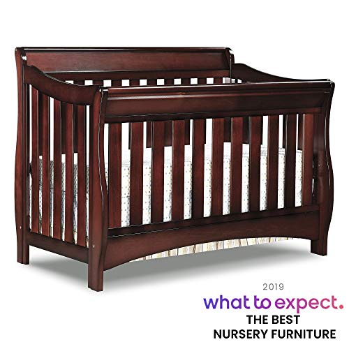 Delta Children Bentley S Series 4-in-1 Convertible Baby Crib, Black Cherry Espresso