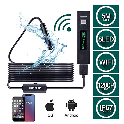 Otoscope WiFi Endoskop, 1200P HD Wireless Inspection Camera, IP68 wasserdichte Endoskop-Kamera für Android iOS 4.2 Windows Mac