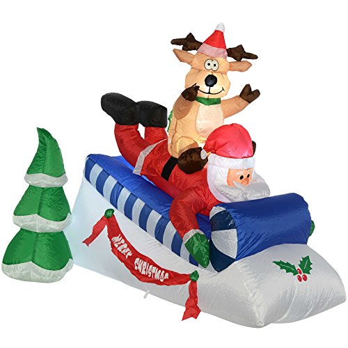 WeRChristmas Pre-Lit Santa and Reindeer Sleigh Inflatable with LED Lights and Fan, 150 cm - Large, Multi-Colour