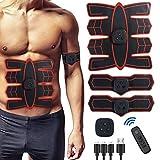 Electroestimulador Muscular, Eléctrico Abdominales Cinturón Estimulador Muscular EMS Abdominal Masajeador con USB Ejercitador 6 Modos Y 18 Niveles para Hombres Mujeres Abdomen/Brazo/Piernas