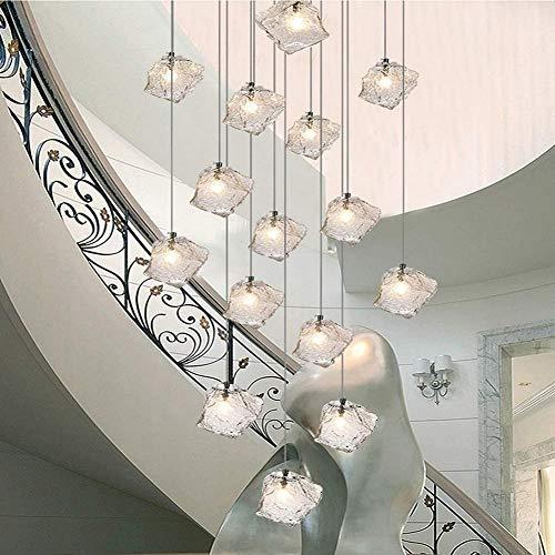 Eastinghouse Rotating Treppen Kronleuchter 15 Stück Glaskugeln, Duplex Bar Restaurant Kreative Villa Pendelleuchte Einfache Moderne Treppe Langer Kronleuchter, Größe, 60X200cm