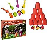 Idena 40074 Geschicklichkeitsspiel Eierlaufen, mit 4 Eiern und 4 Löffeln, perfekt für drinnen und draußen, Partys und Sportfeste (Eierlaufen + Ballwurfspiel + Hüpfsäcke, bunt)