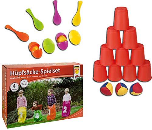 Idena Eierlaufspiel + Ballwurfspiel +Hüpfsäcke-Spieleset (3 Spiele, Party-Set)