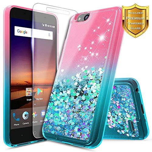 NageBee Glitter Liquid Case Compatible for Blade Vantage/Fanfare 3 /Avid 4 /Tempo X/AVID (557)/ZFive G/ZFive C LTE (Z557BL,Z558VL)/Tempo GO w/[Tempered Glass Screen Protector]-Pink/Aqua