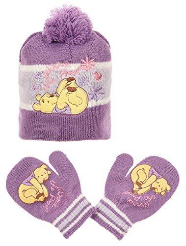 Bonnet et moufles bébé fille Winnie l'ourson Violet et Rose de 0 à 9mois (44 (3-6 mois), Violet)