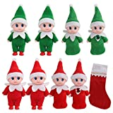 ONEST 8 Pieces Mini Christmas Dolls Colorful Costume Vinyl Face Plush Dolls Elf for Christmas Holiday New Year Decoration Gift