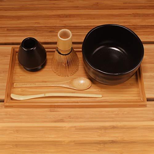 BambooMN Brand - Matcha Bowl Set (Includes Bowl, Rest,Tea Whisk, Chasaku, Tea Spoon & Tray) 1 Set Black
