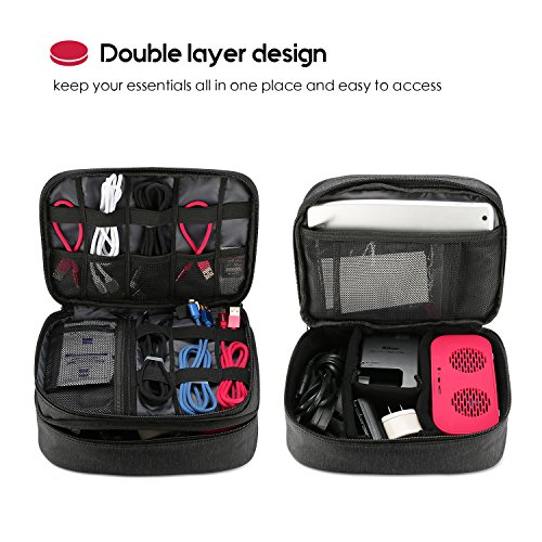 Procase Electronics Travel Organizer Storage Bag, Double Layer Universal Traveling Gear Acces   sories Carrying Cover Pouch for iPad Mini Cables Phone Chargers Adapter Flash Hard Drive and More –Black