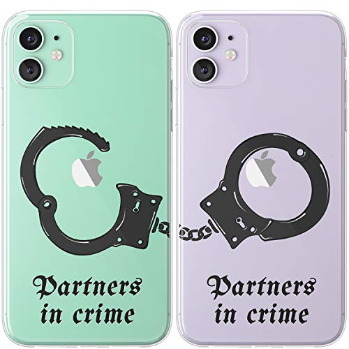 Mertak TPU Couple Cases Compatible with iPhone 12 Pro Max Mini 11 SE Xs Xr 8 Plus 7 6s Fun Lightweight Partners in Crime Handcuffs Black Matching Anniversary Cute Design Slim Cover Protective Clear