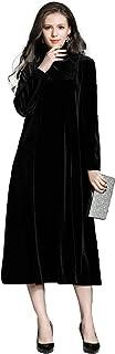 Ababalaya Women's Retro 90s Loose Velvet High Neck Runway Midi Formal Evening Gown