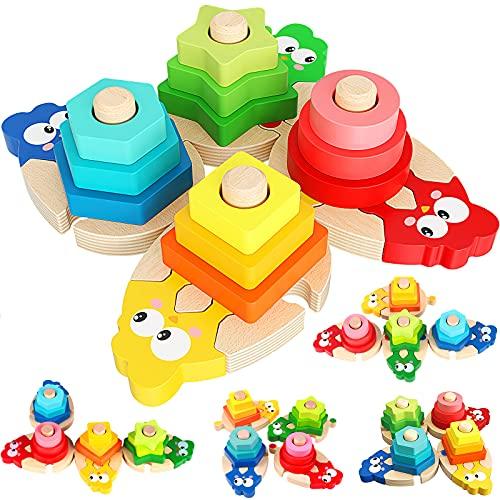 Juguetes de Madera para Niños Pequeños Juguetes Montessori con 4 Formas Geométricas Tablero para Apilar y Clasificar, Juguetes Educativos Cumpleaños para Niños Niñas Bebés 2 3 4 Años