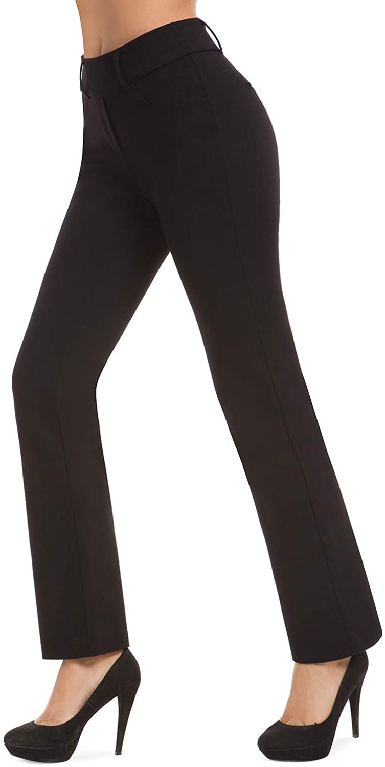 Bamans Women's Bootcut Pull-On Dress Pants Office Business Casual Yoga Work Pants with Key Pocket Straight Leg : Sports & Outdoors
