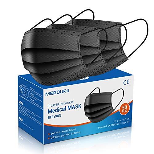 Mundschutz Masken schwarz 50 Stück, Medizinische Gesichtsmaske Einweg, 3-lagige Gesichtsschutzmasken, Atemmaske, Mund- und Nasenmaske mit einstellbarer Ohrschlaufe und Nasenstreifen,