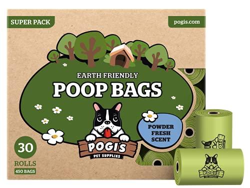 Pogi's Hundekotbeutel - 30 Rollen (450 Tüten) - große, biologisch abbaubare, parfümierte, tropfsichere Hundetüten