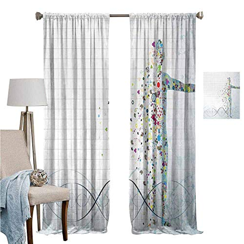 Blackout Curtains for Living Room- Closet Curtain Digital Psychedelic Molecule Body of Human DNA Genetic Helix Life Art Design Light Blue Wedding Party Decorations Set of 2 Panels W107 x L107