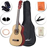 ADM Beginner Classical Guitar 30 Inch Nylon Strings Wooden Guitar Bundle Kit with Carrying Bag & Accessories, Nature