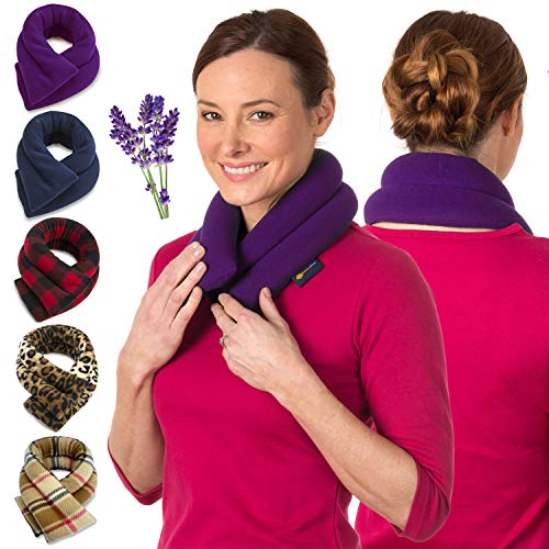 Lavender Neck Wrap Microwavable Aromatherapy - Neck Wrap for Pain Relief - Microwave Heating Pad For Neck and Shoulders - Herbal Aroma Therapy, Spa, And Warmer by Sunnybay (Purple, Extra Long)