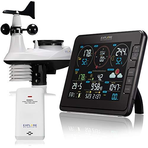 Explore Scientific Wetterstation Funk mit Außensensor Profi W-LAN Wetter Center 7in1 für UV-Pegel, Windgeschwindigkeit, Windrichtung, Luftfeuchtigkeit, Temperatur, Niederschlag und Lichtintensität