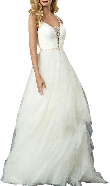 Ikerenwedding Women's Straps Beaded Applique Sheer Back Tulle Wedding Dress