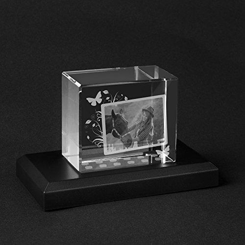 Personello® Glas Foto mit Gravur und Collage, Bild in Glasblock graviert, Fotogeschenk, Größe M=70x60x40mm, Leuchtsockel