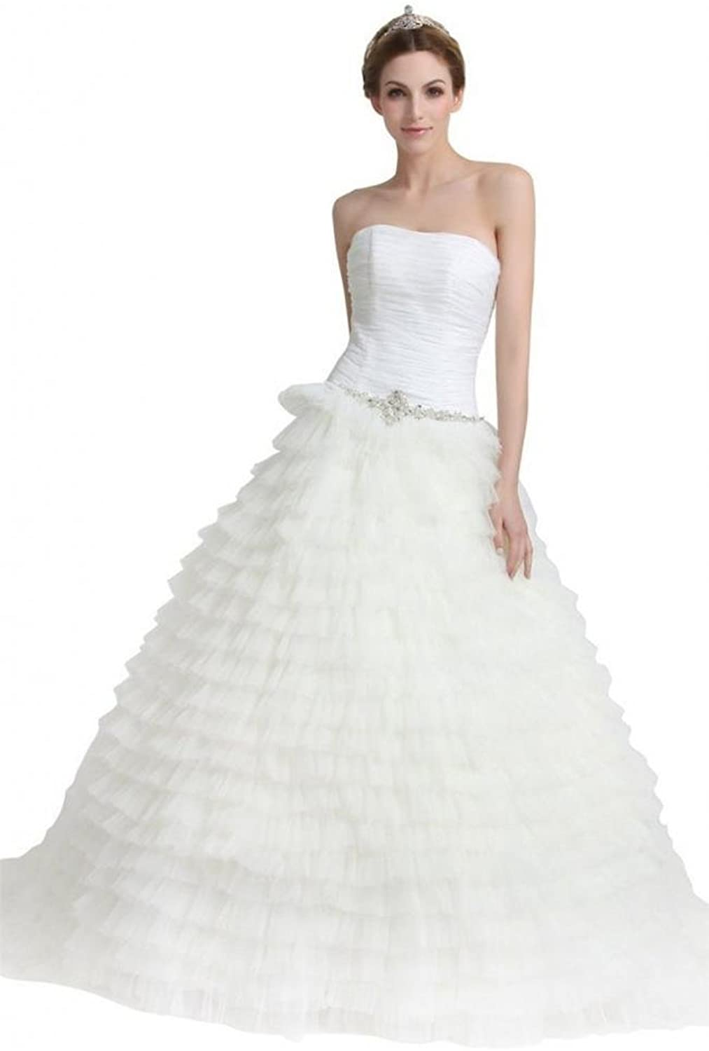 Dearta Women's ALine Princess Wedding Dresses with Draped Beading Cascading Ruffles