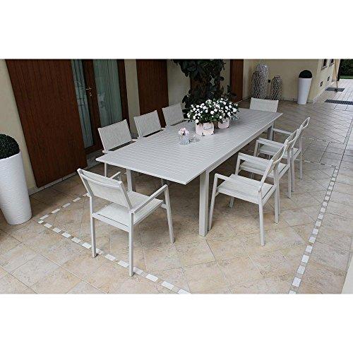 Tavolo Rettangolare Allungabile In Alluminio Tortora 150/210 X 90 Da Esterno Giardino, Per Ristorante Agriturismo Albergo Hotel