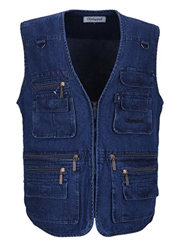 LUSI MADAM Men's Denim Multi-Pockets Leisure Work Fishing Outerwear Vest Large Blue