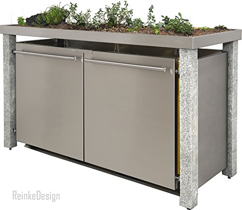 Mülltonnenbox mit Granitpfosten & Pflanzenwanne 3x120L