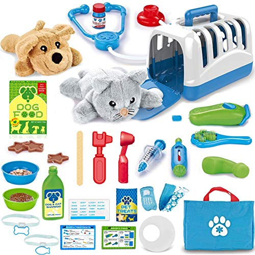Liberty Imports 34 Pcs Deluxe Complete Pet Care Veterinarian Feed & Groom Pretend Doctor Role Play Set with 2 Plush Animals (Dog & Cat)