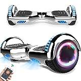 RangerBoard Hoverboard Pas Cher Argent Chromé - 6,5' - Bluetooth - Moteur 700W - Vitesse Max 15KM/H - Gyropode Auto Equilibre - Lumière - Cadeaux Enfants et Adultes