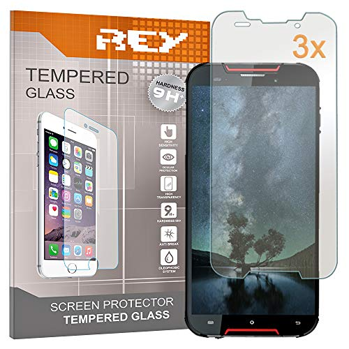 REY 3X Protector de Pantalla para CUBOT Quest, Cristal Vidrio Templado Premium