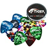 Tiger 12 Celluloid Guitar Picks & Pick Tin - Variété de jauges