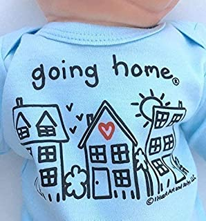 Going Home ® Outfit Baby Boy, Leaving Hospital Newborn Baby Announcement Shirt, NICU Graduate Take Home Outfit for Photographing, Newborn Boy Clothes 0-3 Months Long Sleeve, Blue, Up to 12.5 lbs