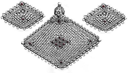 Rebosadero cromado-forma lámpara de techo colgante con Juego de pendientes de (South Indian templo joyería) - broche de plata de ley