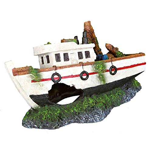 TRIXIE Décoration Barque de Pêche pour Aquarium 15 cm