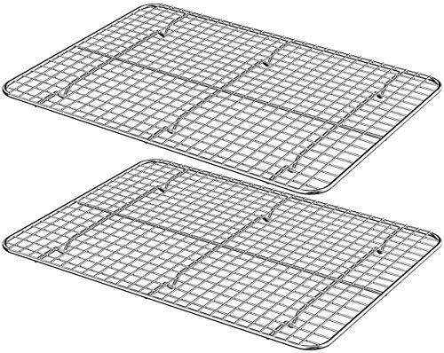 Wildone Cooling Rack Set of 2, Stainless Steel Baking Rack 16.5'' x 11.5'' x 0.6'' for Baking Sheet Cookie Pan, Oven Safe & Heavy Duty, Fits for Cooling, Baking, Grilling, Drying