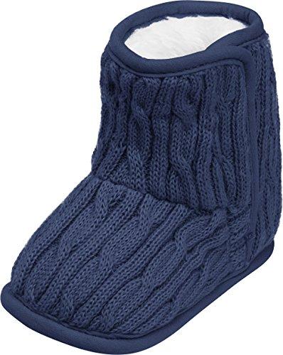 Playshoes gestrickte Baby-Schuhe mit Klettverschluss,Blau (marine),20/21 EU