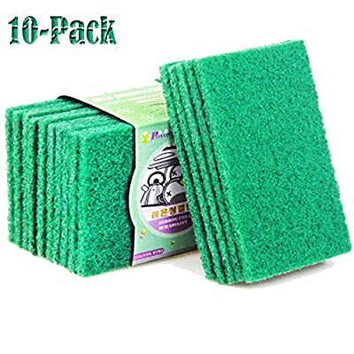 ONDY 10-Pack Cleaning Cloth Scouring Pads Nylon Emery Scouring Pad Dish Scrubber Household Scrub Pads for Stove Top Cleaner and Kitchen Scrubbers