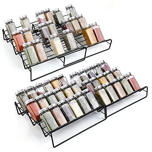 Gewürzhalter für Schubladen aus Metall-GEEDIAR 2er 2 Größen ausziehbar Gewürzregale für die Küchenschublade, Küchenschrank, Deco, Arbeitsplatte,Einfügen,Schwarz