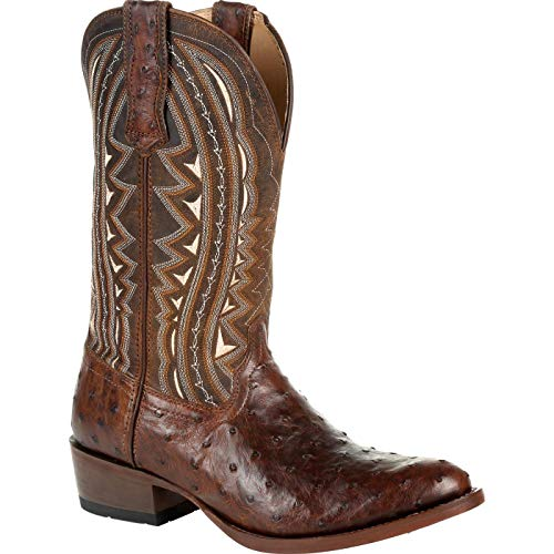 Durango Premium Exotic Full-Quill Ostrich Oiled Saddle Western Boot Size 7(M) Brown