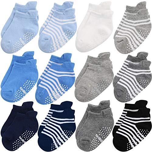 KeaBabies Rutschfeste Baby-Socken für Kleinkinder - Ergonomische rutschfeste Sohlengriffe für Jungen, Mädchen und Kleinkinder - 12-36 monate Weiche & Atmungsaktive Baumwollsocken Set (Blue Craft)