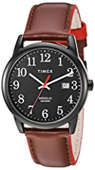 Brown Genuine Leather Strap with Red Accents Black Easy-To-Read Dial with Date Window at 3 o'clock Analog-quartz Movement Case Diameter: 38mm Water resistant to 30m (100ft): in general, withstands splashes or brief immersion in water, but not suitabl...