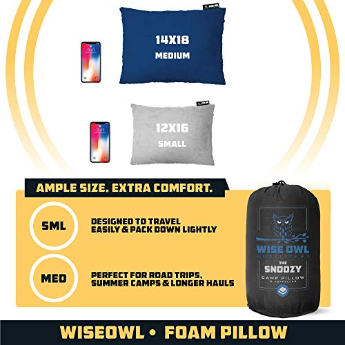 Wise Owl Outfitters Camping Travel Pillow - Compact, Compressible Memory Foam Camp Pillow Backpacking for Hammock - Camping Gear for Camping Pads, Sleeping Bags, Car or Airplane - Small/Medium
