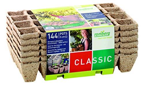 Romberg Anzuchttöpfe Classic quadratisch 5x5 cm (144 Stück, 12 Stripes, biologisch abbaubar, torffrei) 10091109