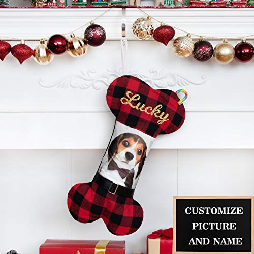 BHD BEAUTY 2020 New Personalized Dog Christmas Stocking Picture Customized Glitter Name Holiday Decorations 17.5 inches