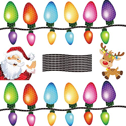 changsha 36 Pcs Christmas Reflective Car Magnets Set - Reflective Car Magnet Lights Stickers Decorations Santa Claus Reindeer Stickers for Christmas Car Refrigerator Home Decorations