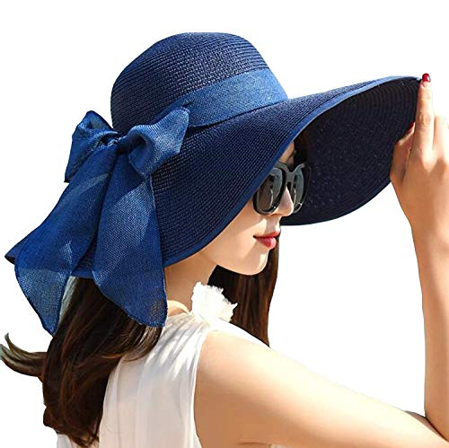 Lady Dress Women's Fashion Straw Hat Sun Protection Visor with Bowknot Foldable for Travel SH001