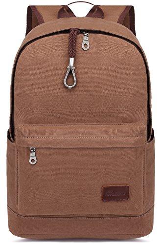 KAUKKO Multipurpose Vintage Canvas Backpacks Laptop Daypack Travel Hiking Rucksack Khaki